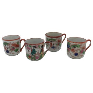 Orange & White Chinoiserie Mini Teacups- Set of 4