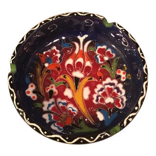 Hand-Painted Ceramic Ashtray For Sale