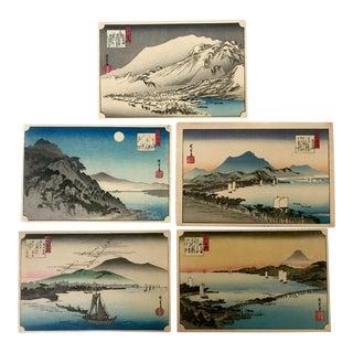 Vintage Mid-Century Ando Hiroshige Ukiyo-E Japanese Woodblock Prints - Set of 5 Lake Biwa For Sale