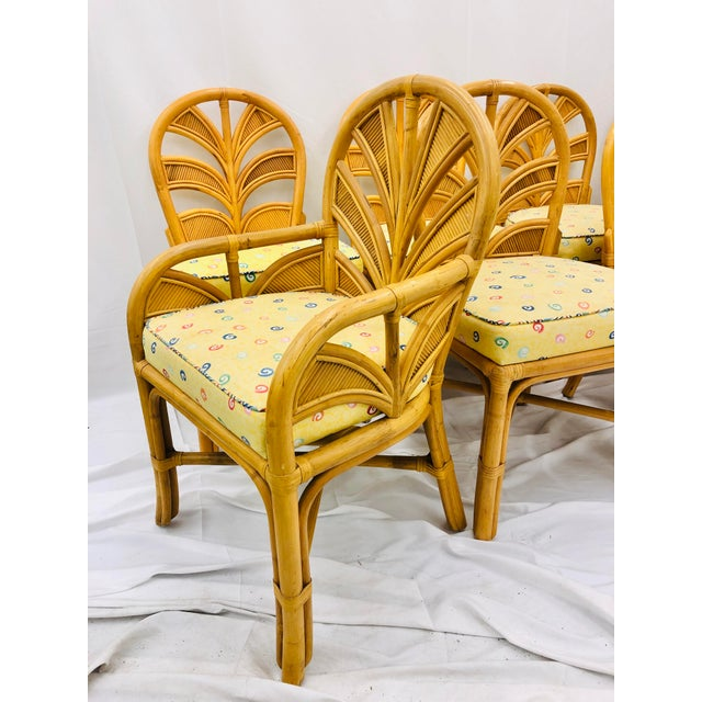 Set of Eight Vintage Bent Rattan Chairs For Sale - Image 10 of 11
