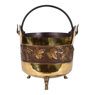 Vintage Greco Roman Style Copper Scuttle Fire Place Bucket For Sale