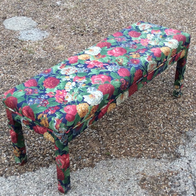 Milo Baughman Parsons Bench W Floral Upholster. Exceptional condition. We always accept reasonable offers. Before it's...