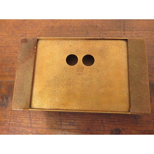 Antique Art Deco Silver Crest Bronze Desk Inkwell For Sale - Image 9 of 11