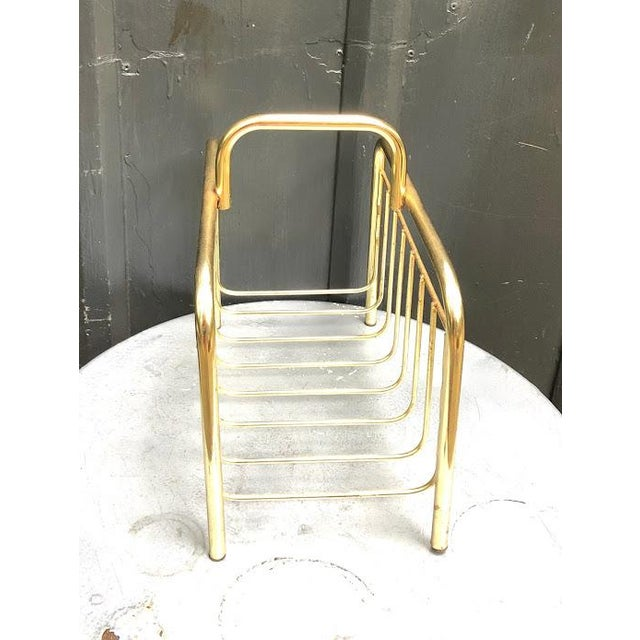 1950s Mid Century Brass Magazine Holder For Sale - Image 4 of 5