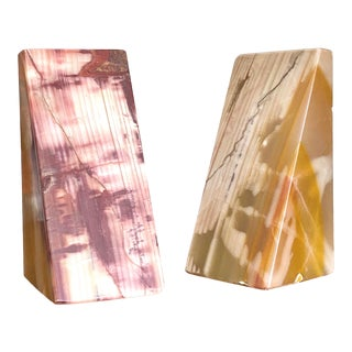 1940s Triangular Vintage Marble Bookends - a Pair For Sale