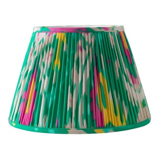 """Katy's Ikat in Emerald 16"""" Lamp Shade, Kelly Green For Sale"""