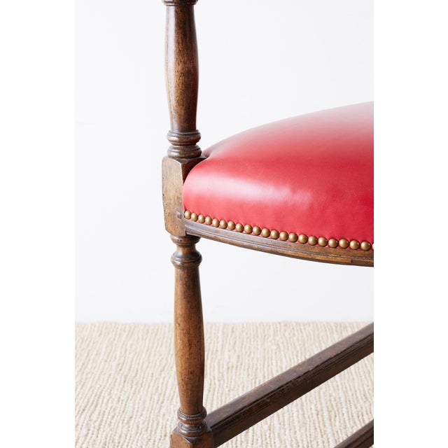 Pair of Dennis Leen Walnut and Leather Bar Stools For Sale In San Francisco - Image 6 of 13