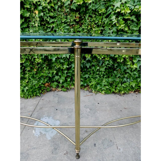Modern 1970s Half Moon Glass and Brass Console Table For Sale - Image 3 of 6