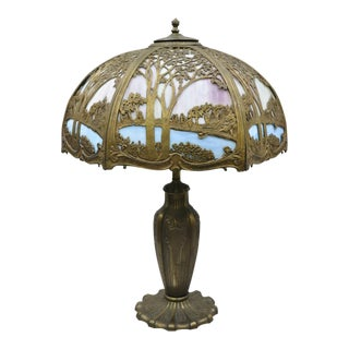 Art Nouveau Pink Blue Stained Glass Shade Tiffany Handel Style Parlor Lamp For Sale