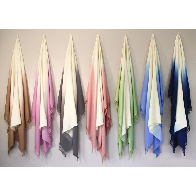 Mid-Century Modern 100% Baby Alpaca Dip-Dyed Throw For Sale - Image 3 of 4
