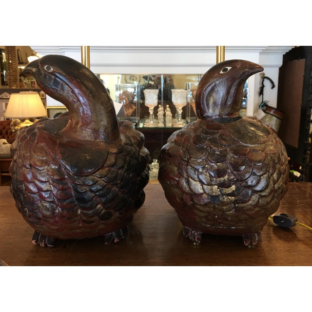Antique Polychrome Decorated Wood Bird Figure Lamps - a Pair - Image 7 of 10