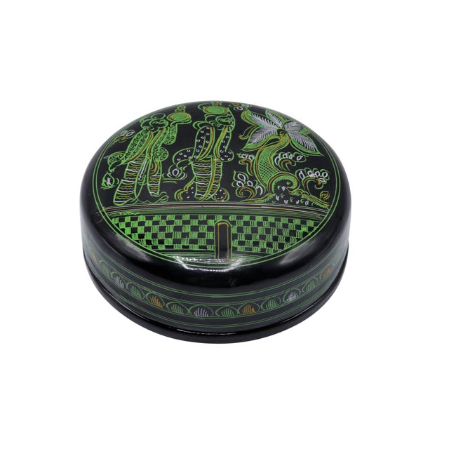 Black & Green Lacquered Coasters - Set of 6 For Sale - Image 4 of 7