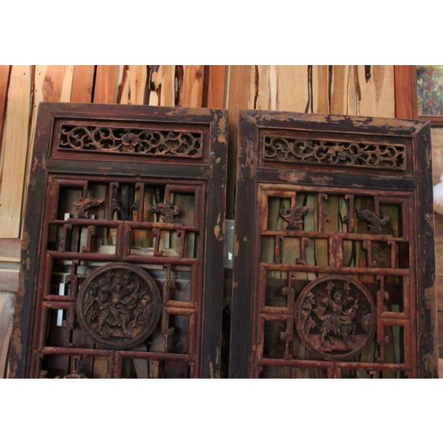Asian Antique Chinese Door Panels Wall Decor - A Pair For Sale - Image 3 of - Antique Chinese Door Panels Wall Decor - A Pair Chairish