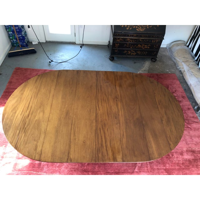 Gorgeous custom 96 inch oval dining table. Purchased in Dallas at David Sutherland, two 24 inch leaves. Regency style....