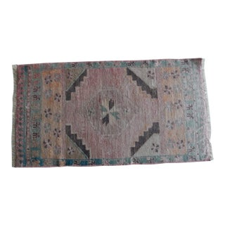 Small Rug Turkish Hand Knotted Bath Mat, Doormat Distressed Low Pile Rug Yastik 1′9″ × 3′1″ For Sale