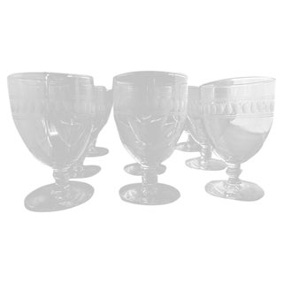 Libbey Mid Century Etched Water Glasses - Set of 9