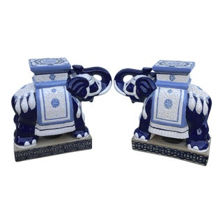 Blue & White Ceramic Elephant Good Luck Trunk Up Garden Stools - a Pair For Sale