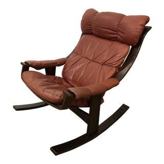Westnofa Vintage Leather Rocking Chair For Sale