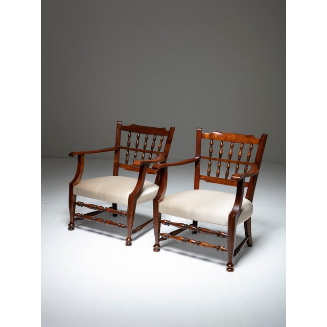Textile Rare Pair of Armchairs by Tomaso Buzzi For Sale - Image 7 of 7