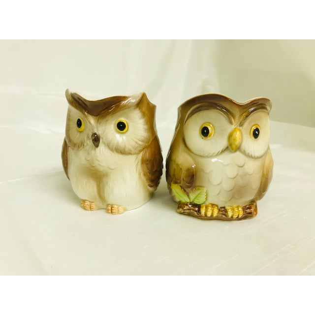 Ceramic 1980s Vintage Otagiri Small Owl Syrup Creamer Pitchers - a Pair For Sale - Image 7 of 7