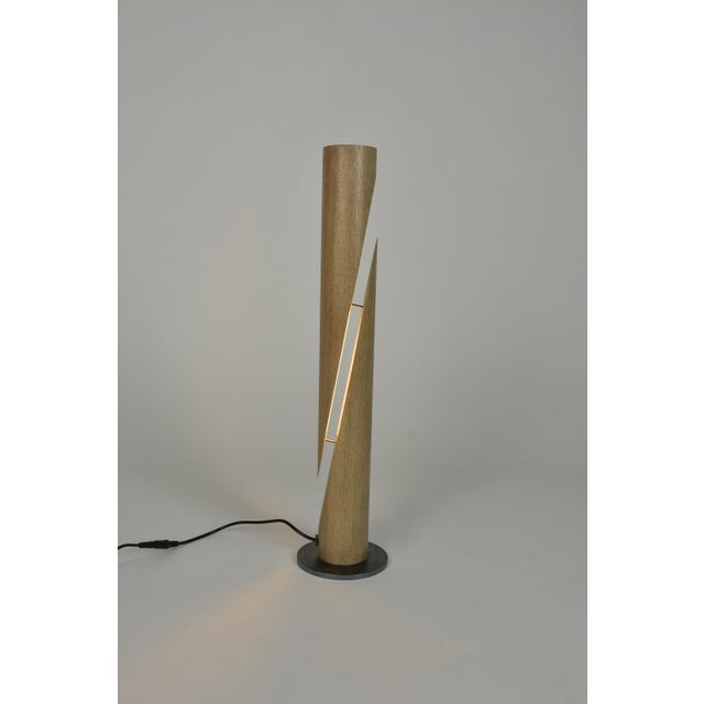 Contemporary Cleave - Ash Wooden Dowel Table Led Lamp With Steel Base For Sale - Image 3 of 6