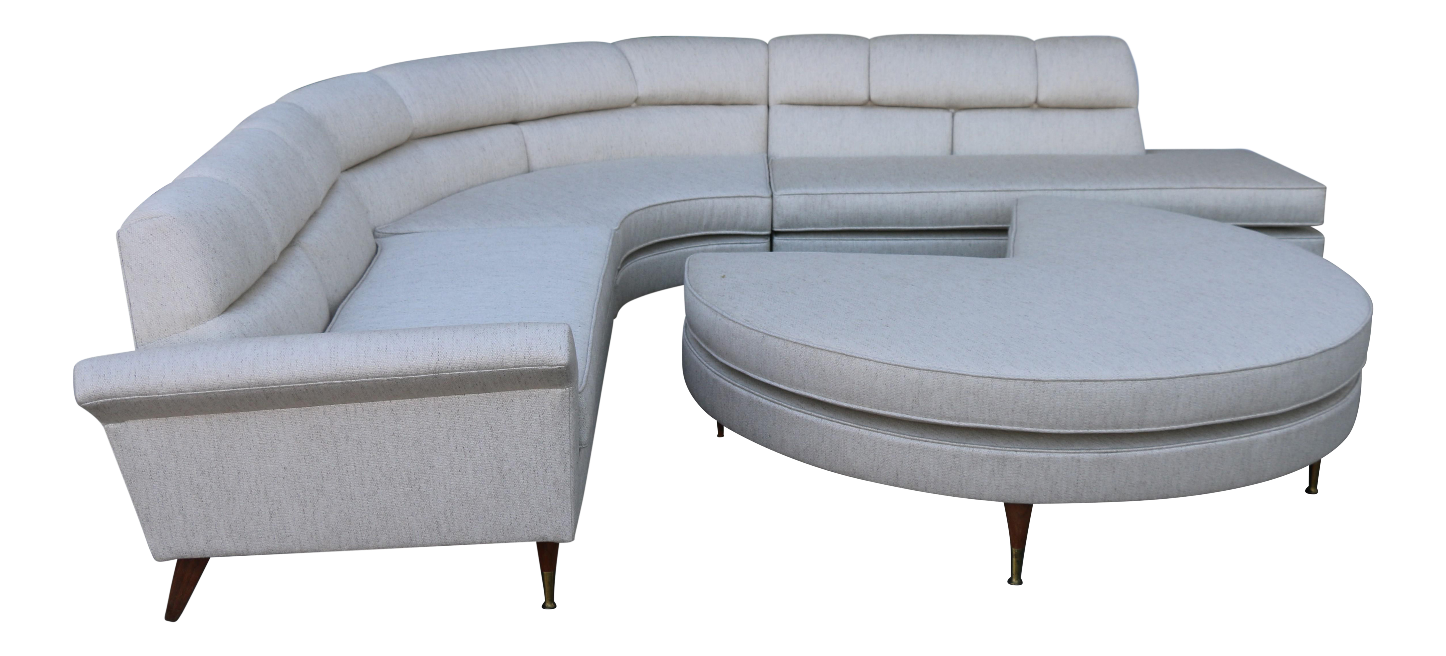 Perfect 1960s Mid Century Modern 4 Piece Sectional and Ottoman - Set of 4  IY13