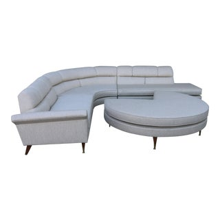 1960s Mid Century Modern 4 Piece Sectional and Ottoman - Set of 4 For Sale