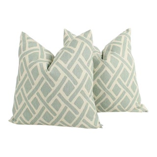 Sea Foam Green Linen Geometric Tribal Pillows, a Pair For Sale