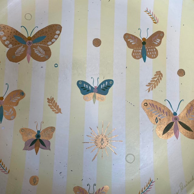 Georges Briard 1950s Georges Briard Tole Butterflies + Flora Tray, Signed For Sale - Image 4 of 13