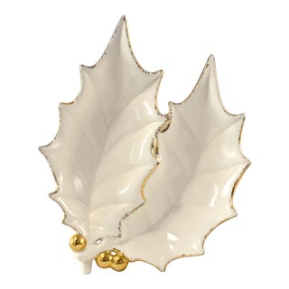 Gold & White Holly Leaf Catchall