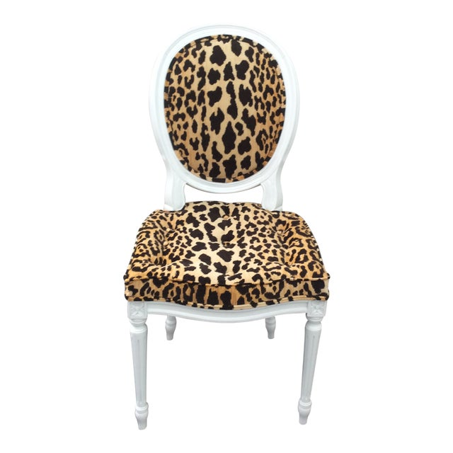 Leopard Fabric Louis XVI Round Back Side Chair For Sale