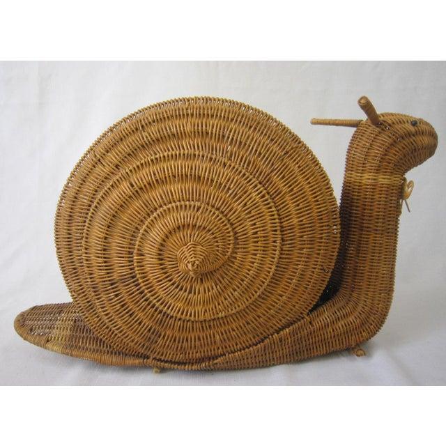 Brown Vintage Wicker Snail Basket For Sale - Image 8 of 8