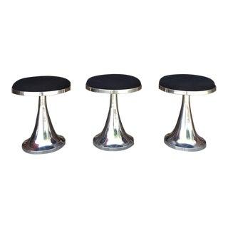 1990s Vintage Chrome Stools - Set of 3