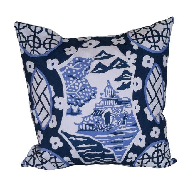 Dana Gibson Blue & White Canton Pillow For Sale