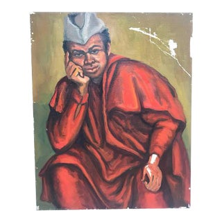 1970s Male Wearing Red Robes Portrait Painting