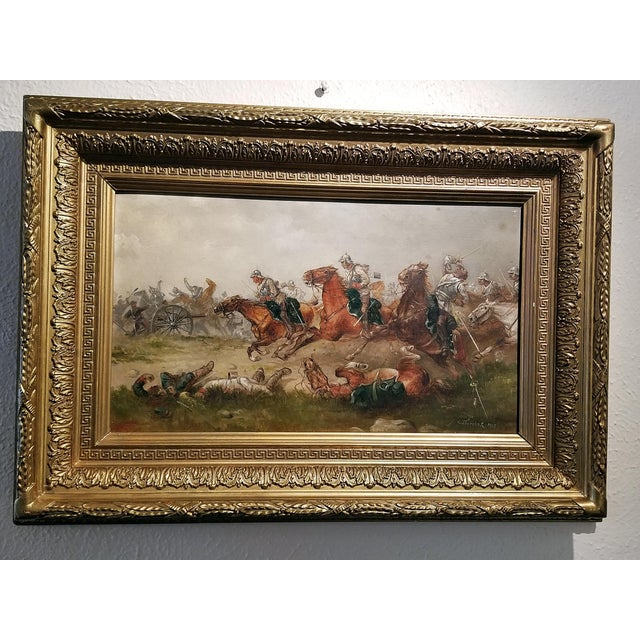 Late 19th Century 1897 Franco Prussian War Oil Painting on Board by G. Thorsbaek For Sale - Image 5 of 8
