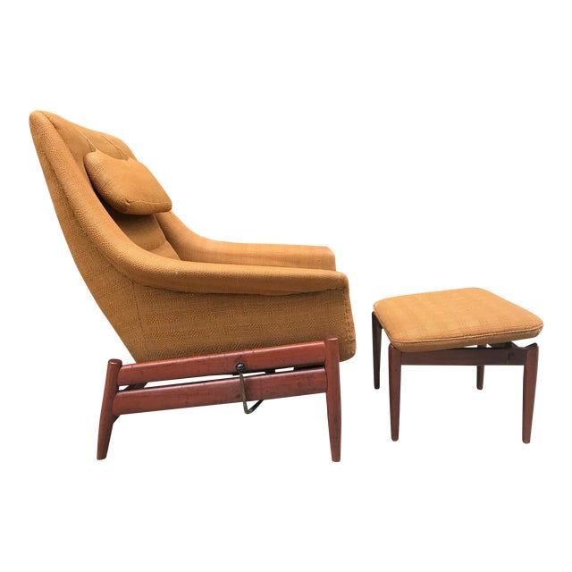 Povl Dinesen Danish Modern Lounge Chair and Ottoman For Sale