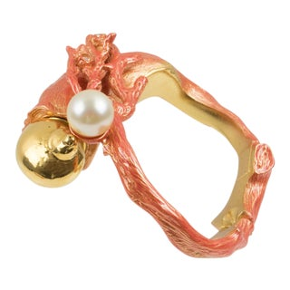 Christian Dior Dune 1987 Gilt Metal Coral Branch Clamper Bracelet For Sale