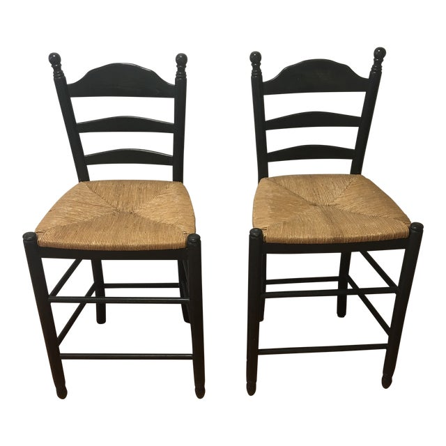 Vintage French Country Woven Rush Seat Counter Stools - a Pair For Sale