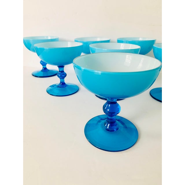 Vintage Carlo Moretti Turquoise Cased Glass Coupes - Set of 8 For Sale In New York - Image 6 of 11