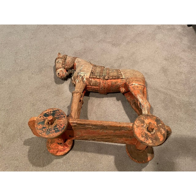 Metal Antique Early 19th Century Wood Horse on Wheels For Sale - Image 7 of 9
