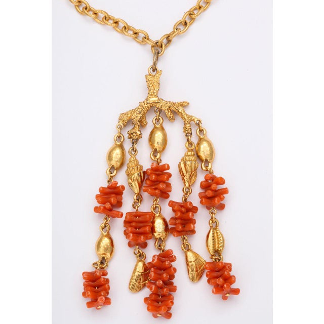Shell Coral and Shell Pendant Necklace For Sale - Image 7 of 9