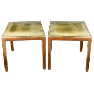 Mink Umber Silk Velvet Side Tables - a Pair