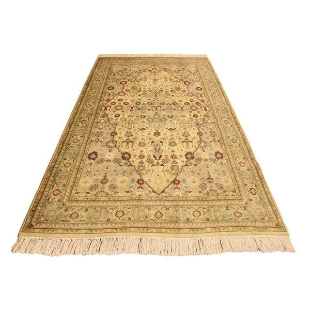 Contemporary Tabriz Pak-Persian Loren Ivory/Lt. Green Wool Rug - 4'8 X 7'1 For Sale - Image 3 of 8