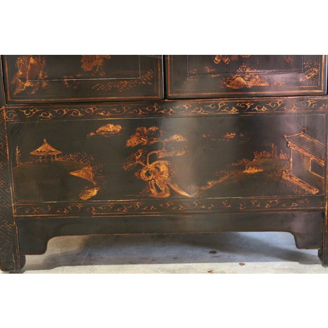 Late 20th Century Black Lacquer and Gilt Painted Cabinet For Sale - Image 10 of 11