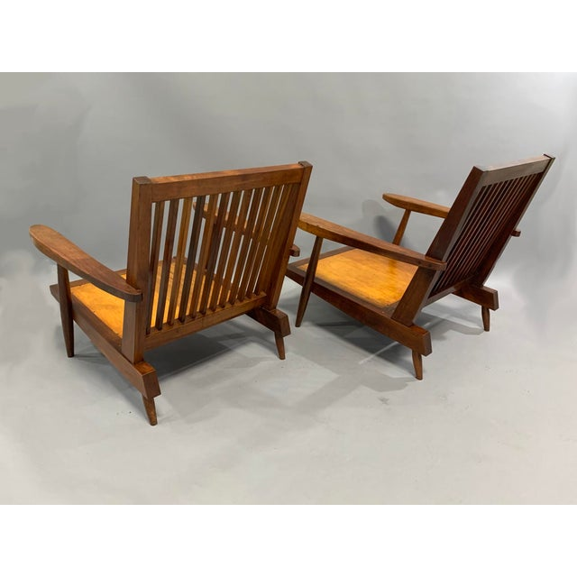 Black George Nakashima Pair of Spindle Back Lounge Chairs For Sale - Image 8 of 13