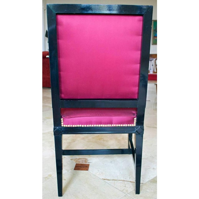 1930s Vintage Jansen Louis XVI Style Black Lacquered Armchair For Sale - Image 4 of 7