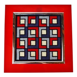 Mid Century Modern Acrylic Backer Framed Geometric Needlepoint Art For Sale