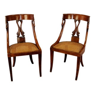 Pair Of Hand-crafted Biedermeier Chairs For Sale