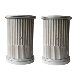 Mid Century Light Gray Barrel Tables - a Pair For Sale